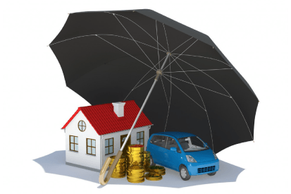 umbrella insurance represented by a black umbrella covering a house, some money and a car